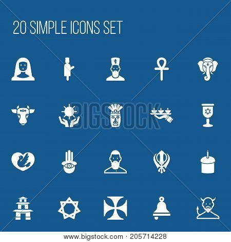 Set Of 20 Editable Dyne Icons. Includes Symbols Such As Muslim, Ringer, Hexagram And More