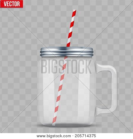 Glass Mason Jar with handle for cocktail and lemonade and smoothie. For bar and restaurant menu. Vector Illustration isolated on transparent background.