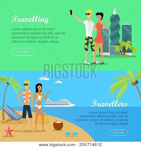 Set of people on vacation conceptual web banners. Flat style vector. Travelers and traveling concepts. Young couple in summer clothes standing on sea shore and making selfie photos in Panama-city