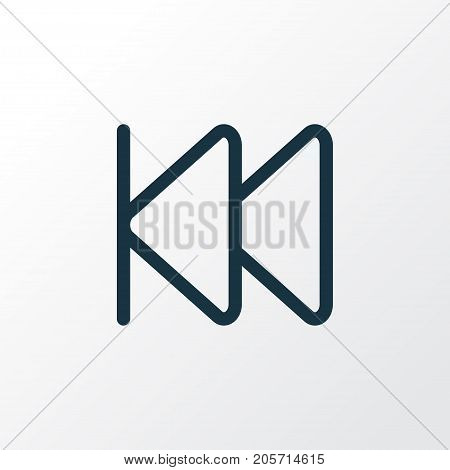 Premium Quality Isolated Rewind Element In Trendy Style.  Previous Outline Symbol.
