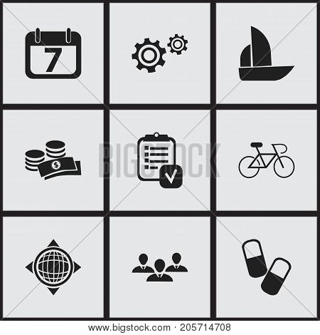 Set Of 9 Editable Complex Icons. Includes Symbols Such As Drug, Questionnaire, Yacht And More