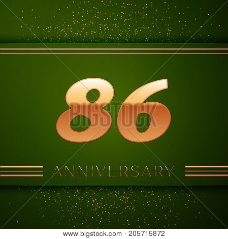 Realistic Eighty six Years Anniversary Celebration Logotype. Golden numbers and golden confetti on green background. Colorful Vector template elements for your birthday party