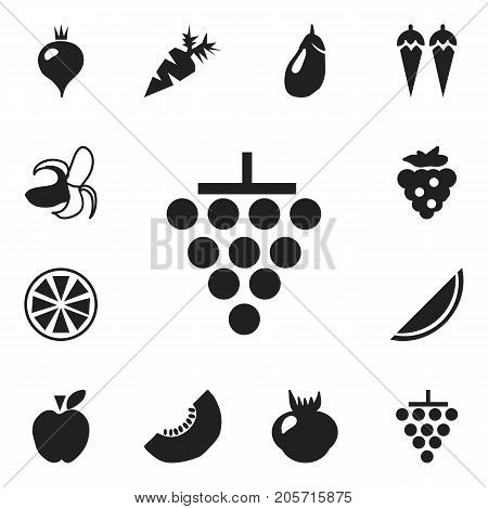 Set Of 12 Editable Fruits Icons. Includes Symbols Such As Banana, Root Vegetable, Turnip And More