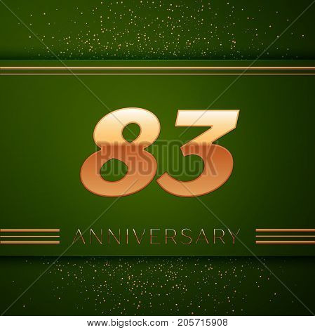 Realistic Eighty three Years Anniversary Celebration Logotype. Golden numbers and golden confetti on green background. Colorful Vector template elements for your birthday party