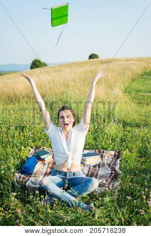 Cheerful Pretty Female Feeling Happy And Free