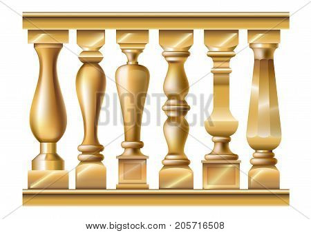 Set of different gold balusters in a classic style. Vector graphics