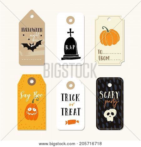 Set of cute Halloween gift tags, labels with pumpkins, human skull, bat and tomb. Hand drawn illustrations, vector objects isolated on white background.