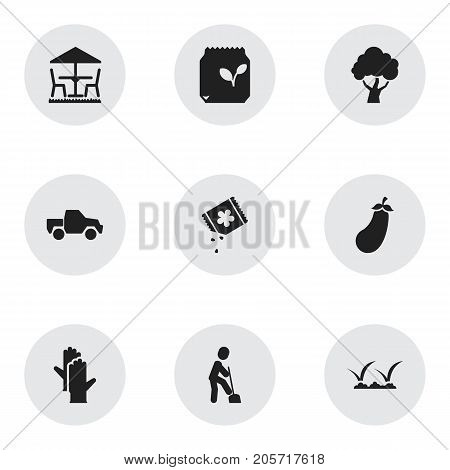 Set Of 9 Editable Gardening Icons. Includes Symbols Such As Seeds Packet, Ground Shoveling, Lawn And More
