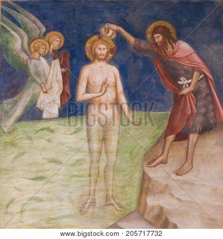 Fresco In San Gimignano - Baptism Of Jesus Christ