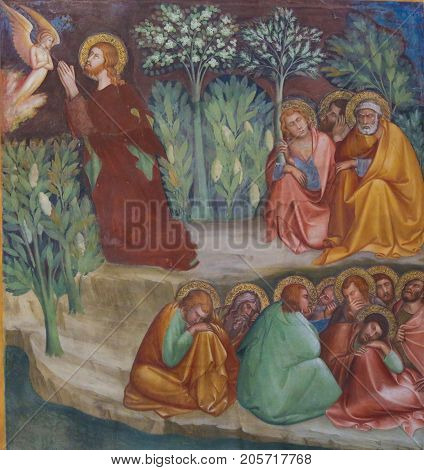 Fresco In San Gimignano - Jesus In The Garden Of Gethsemane
