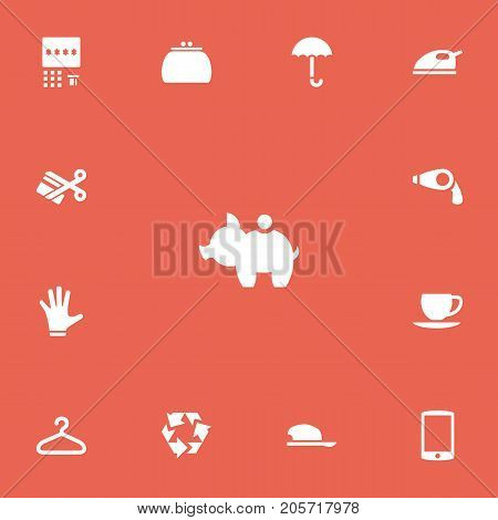 Set Of 13 Editable Shopping Icons. Includes Symbols Such As Automatic Teller Machine, Cash Collecting, Cellphone And More