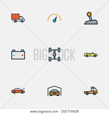 Auto Colorful Outline Icons Set. Collection Of Bonnet, Accumulator, Sport And Other Elements