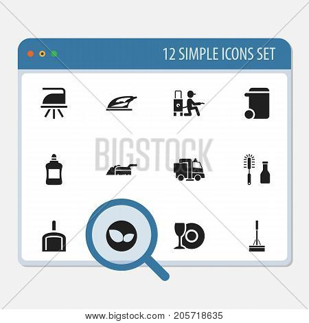 Set Of 12 Editable Cleanup Icons. Includes Symbols Such As Plate, Sweeping, Mopping And More