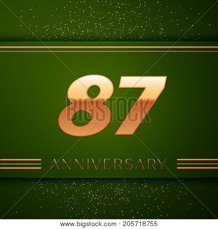 Realistic Eighty seven Years Anniversary Celebration Logotype. Golden numbers and golden confetti on green background. Colorful Vector template elements for your birthday party