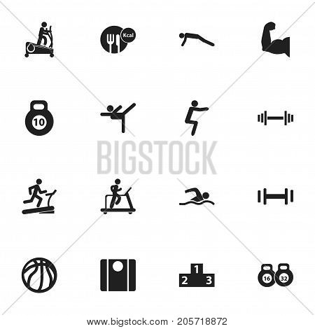 Set Of 16 Editable Fitness Icons. Includes Symbols Such As Strength, Jogging, Heft And More