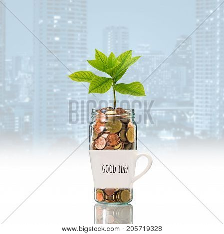 Gold coins and seed in clear bottle over the glass with text good idea on photo blurred cityscape backgroundBusiness investment growth concept, 3D illustration