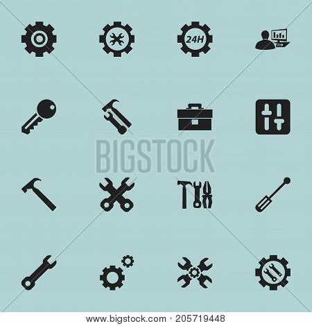 Set Of 16 Editable Toolkit Icons. Includes Symbols Such As Wrench Hammer, Handle Hit, Technical Support
