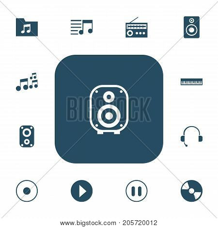 Set Of 13 Editable Audio Icons. Includes Symbols Such As Stop, Disc, Retro Tuner And More
