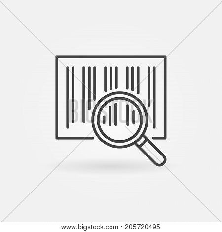 Barcode search line icon. Vector magnifying glass scanning barcode concept symbol in thin line style
