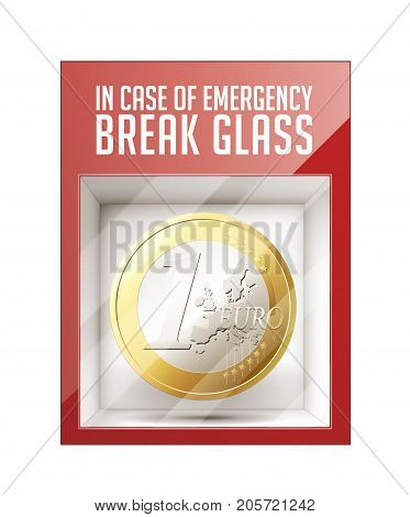 In case of emergency break glass - One Euro coin - business concept- stock illustration