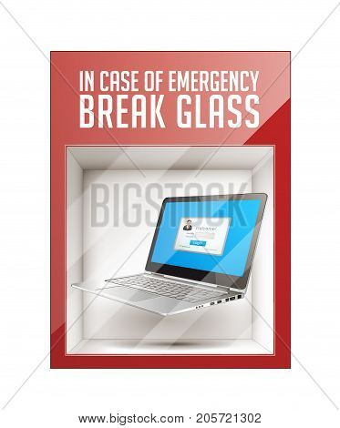 In case of emergency break glass - latop concept- stock illustration