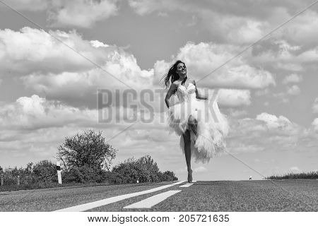 Wedding Happy Woman Running On Road