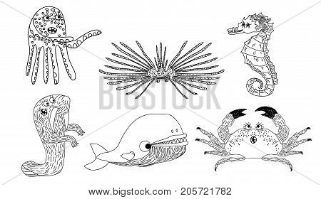 Vector illustration of a six marine inhabitants on the white