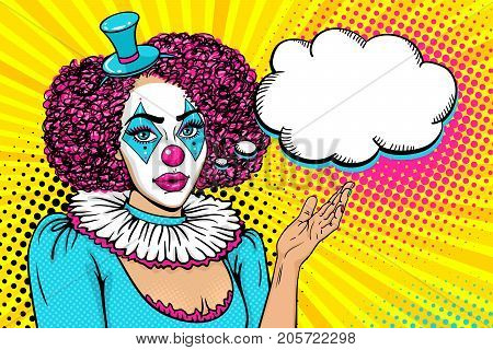 Pop art female face. Sexy young woman with clown makeup and in costume rises her hand and points on speech bubble. Vector illustration in retro comic style. Circus background. Party invitation poster.