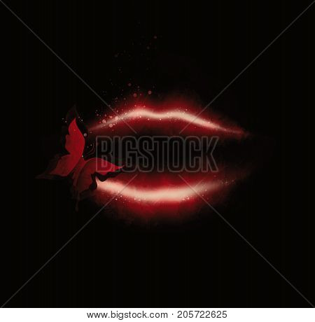Red Lips And Butterfly On A Black Background