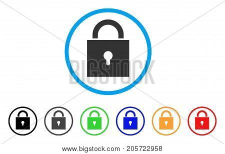 Lock rounded icon. Style is a flat lock grey symbol inside light blue circle with black, gray, green, blue, red, orange variants. Vector designed for web and software interfaces.