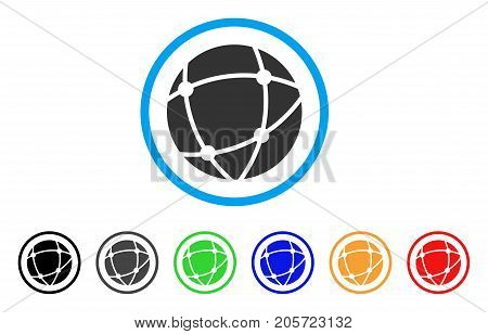 Network Sphere rounded icon. Style is a flat network sphere gray symbol inside light blue circle with black, gray, green, blue, red, orange versions. Vector designed for web and software interfaces.
