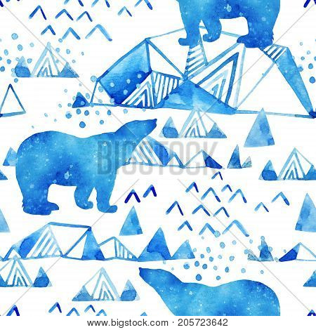Abstract watercolor arctic winter background. Stylized north seamless pattern: polar bear ice mountains falling snow with paper texture. Hand painted watercolour illustration in minimal style