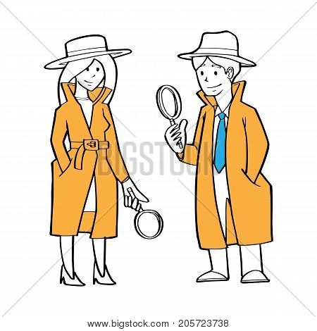 a couple of detective businessman and business woman as detective holding magnification glass searching clue business problem concept.