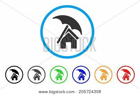 Home Under Umbrella rounded icon. Style is a flat home under umbrella gray symbol inside light blue circle with black, gray, green, blue, red, orange color versions.