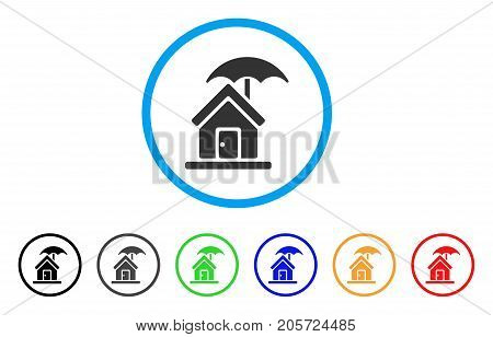 House Under Umbrella rounded icon. Style is a flat house under umbrella grey symbol inside light blue circle with black, gray, green, blue, red, orange versions.