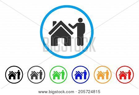 Realty Buyer rounded icon. Style is a flat realty buyer gray symbol inside light blue circle with black, gray, green, blue, red, orange color versions. Vector designed for web and software interfaces.