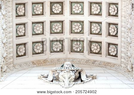 Lyon,  France - July 21, 2017: Details and roof at the entrance of the basilica of Fourviere in Lyon, France