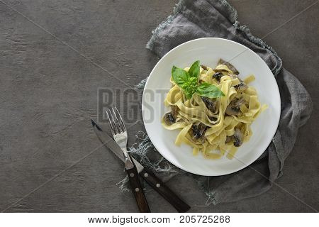 Tagliatelle with mushroom creamy sauce view from above space for a text