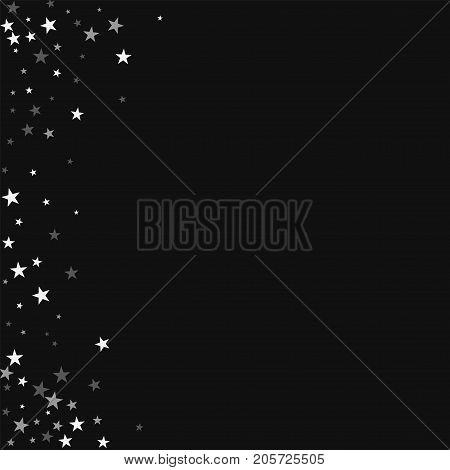Random Falling Stars. Abstract Left Border With Random Falling Stars On Black Background. Surprising