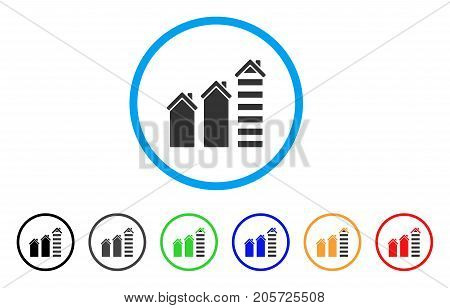 Realty Trend rounded icon. Style is a flat realty trend grey symbol inside light blue circle with black, gray, green, blue, red, orange variants. Vector designed for web and software interfaces.