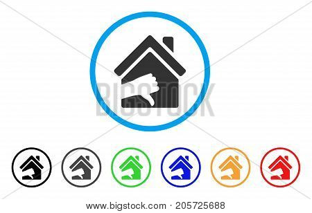 Terrible House rounded icon. Style is a flat terrible house gray symbol inside light blue circle with black, gray, green, blue, red, orange variants. Vector designed for web and software interfaces.