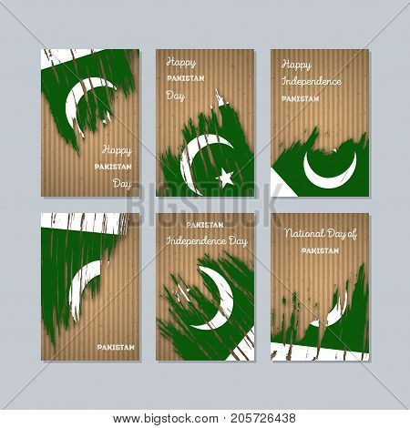Pakistan Patriotic Cards For National Day. Expressive Brush Stroke In National Flag Colors On Kraft