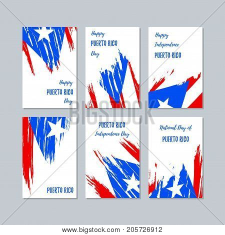 Puerto Rico Patriotic Cards For National Day. Expressive Brush Stroke In National Flag Colors On Whi