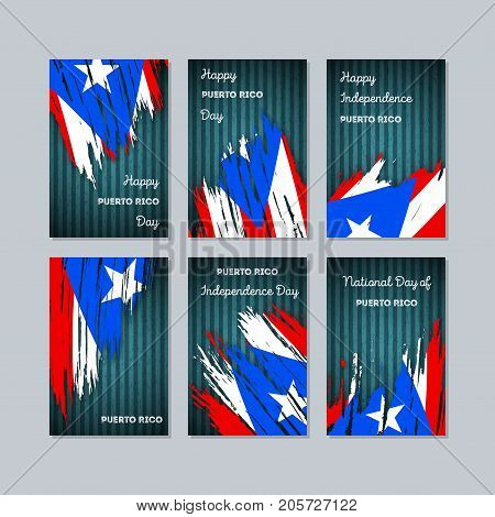 Puerto Rico Patriotic Cards For National Day. Expressive Brush Stroke In National Flag Colors On Dar