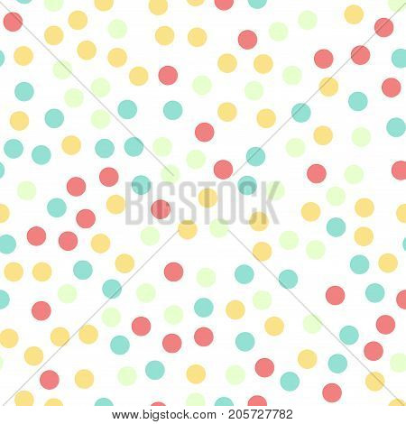 Colorful Polka Dots Seamless Pattern On White 16 Background. Appealing Classic Colorful Polka Dots T