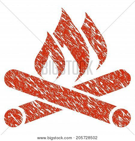 Grunge Campfire rubber seal stamp watermark. Icon campfire symbol with grunge design and scratched texture. Unclean vector red sign.