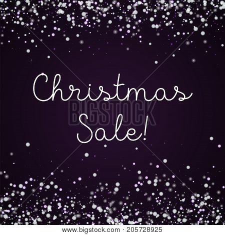 Christmas Sale Greeting Card. Amazing Falling Snow Background. Amazing Falling Snow On Deep Purple B