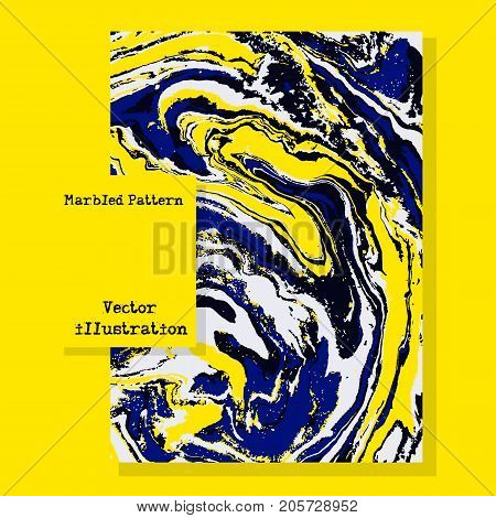 Marbled blue and yellow abstract background. Liquid marble pattern. Vector fluid texture. Business template