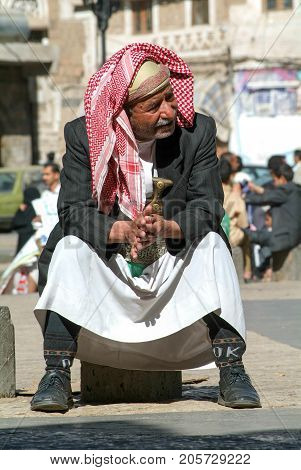 Man With Traditional Clothe At Sana On Yemen