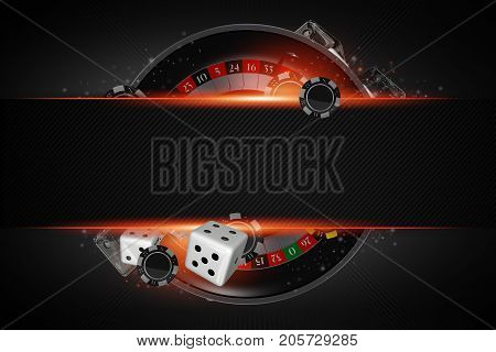 Roulette Copy Space Concept. Black Roulette Wheel Casino Game with Dices and Chips Conceptual 3D Rendered Illustration.